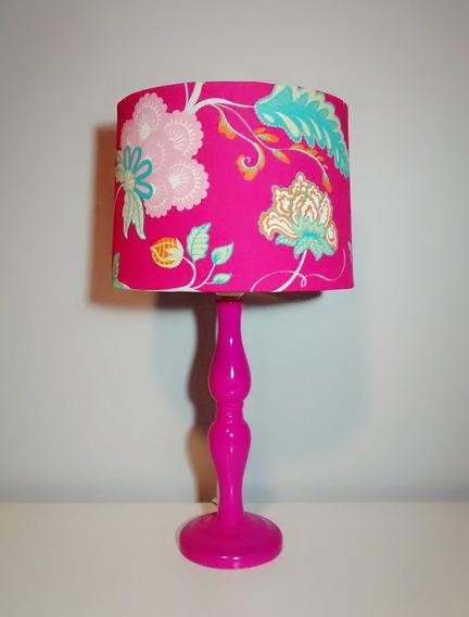 Abajur Luminária Porcelana Estampado Floral Pink Quarto