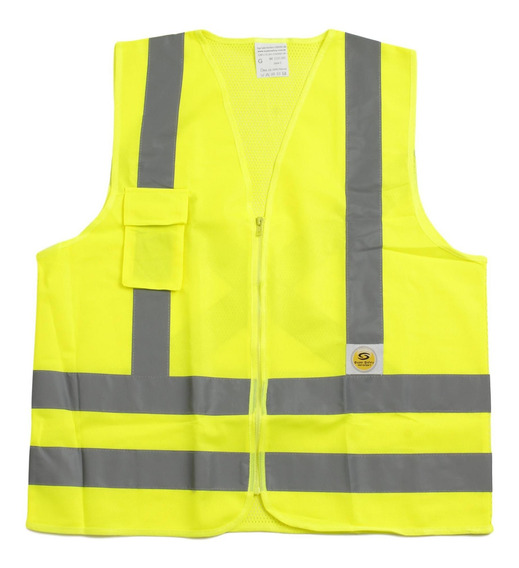 Colete Estacionamento Amarelo Faixa Refletiva 1 Bolso Ziper
