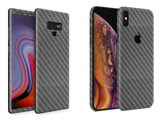 Skin Fibra Carbono Gris Apple Samsung Huawei Sony Xiaomi Etc
