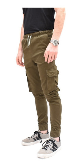 Pantalones Hombre Cargo Joggers Puños Elastizado Gabardina