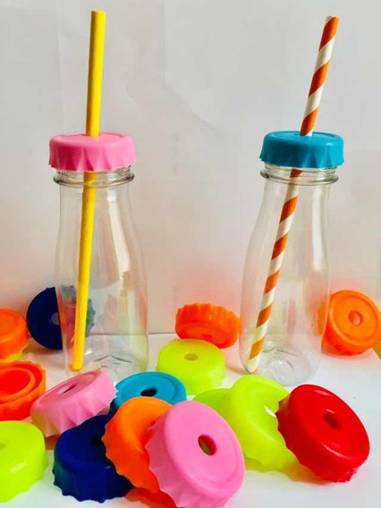 Botella Plástica Tapón Perforado X 20 Unid. Souvenirs Jugo