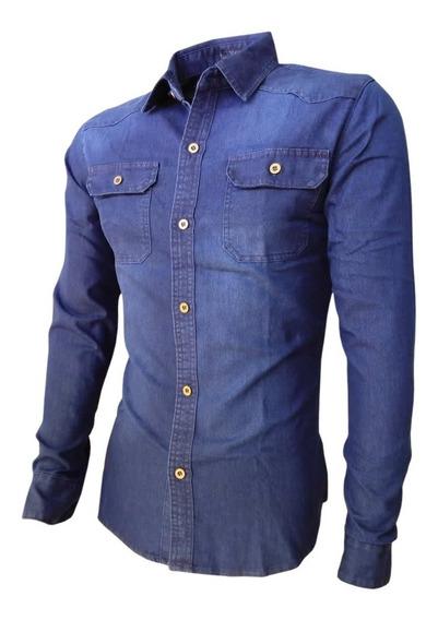 Camisa Jeans Masculina Manga Longa Parcela Sem Juros