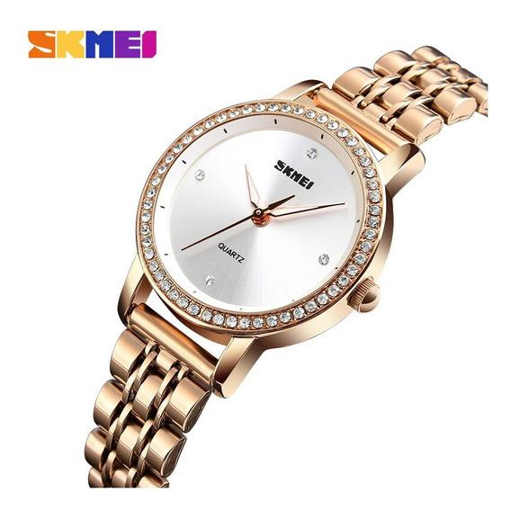 Relógio Feminino Skmei 1311 Ouro Rose Branco Brilhantes Luxo