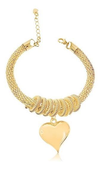 Pulseira Pingente Coração Semijoia Banhada A Ouro Amarelo