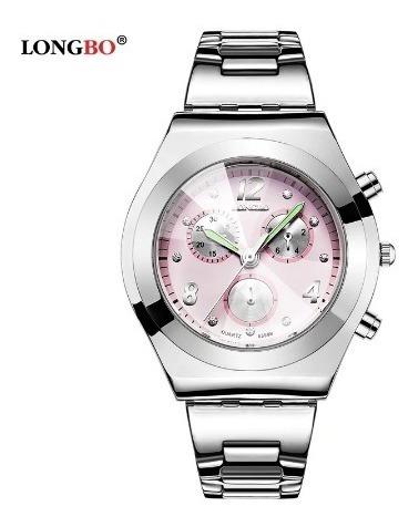 Relógio Feminino Longbo De Pulso Importado Luxo Aço Lindo