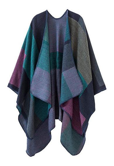 Capa De Poncho Para Mujer, Diseño De Bloques De Color