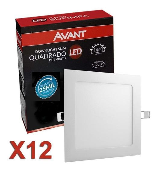 Kit 12 Plafon Led Quadrado 18w Embutir Gesso Marca Avant