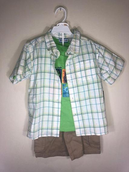 Conjunto De Camisa, Camiseta Y Bermudas Para Niño De 7 Años