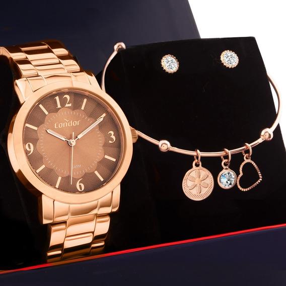 Kit Relógio Feminino Condor Rosê Com Bracelete E Brincos