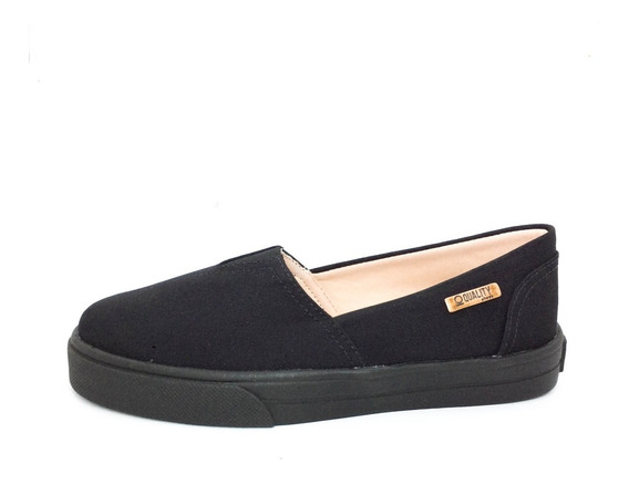 Tênis Slip On Quality Shoes Feminino 002 Preto Lona Sola Pre