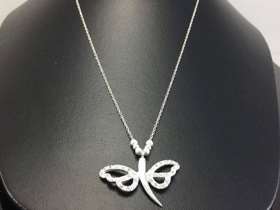 Collar Gargantilla En Plata Ley 925 Mariposa