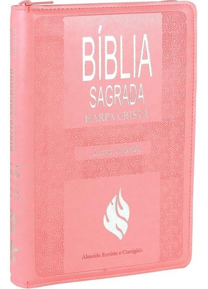 Bíblia Com Harpa Cristã Letra Grande Com Zíper E Índice