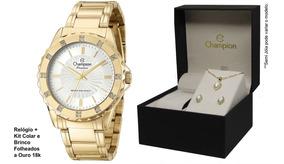 Relógio Champion Feminino Original Cn29847w + Kit Brinde