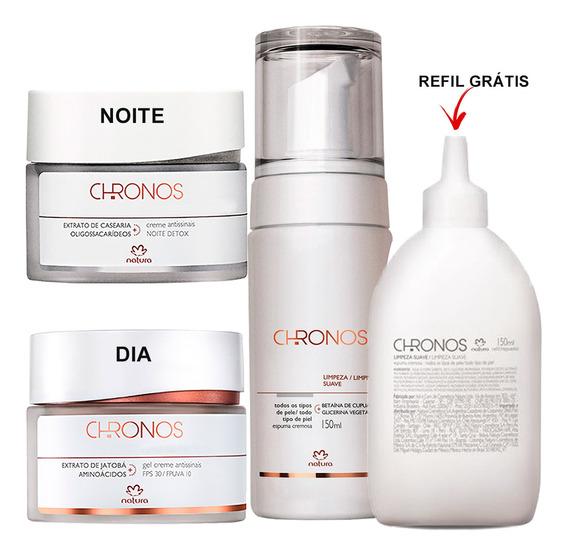 Kit Natura Chronos Antirugas + Espuma De Limpeza + Refil