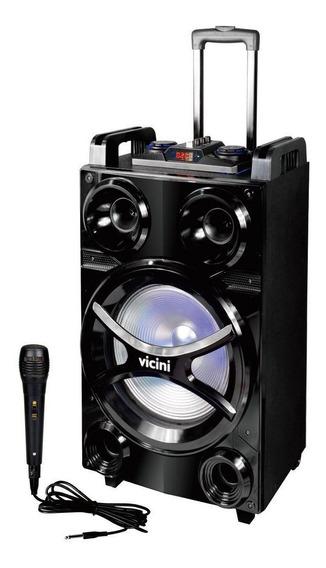Caixa Amplificada Led Microfone Bluetooth Rádio Fm Vicini Sd