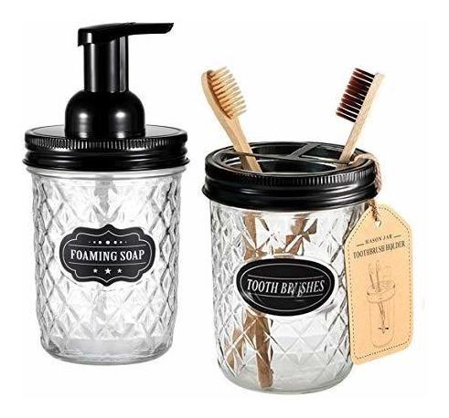 Imagen 1 de 7 de Mason Jar Juego De Accesorios De Baño  Incluye Dispensador