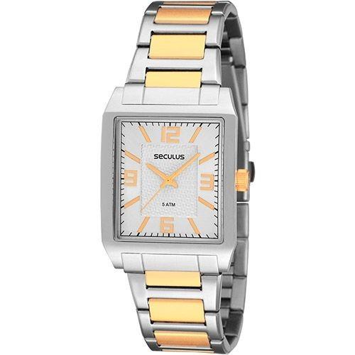 Relógio Masculino Seculus Social Prata C/ Dourado