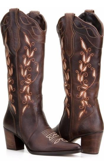 Bota Texana Feminina Country Western Couro Capelli Boots
