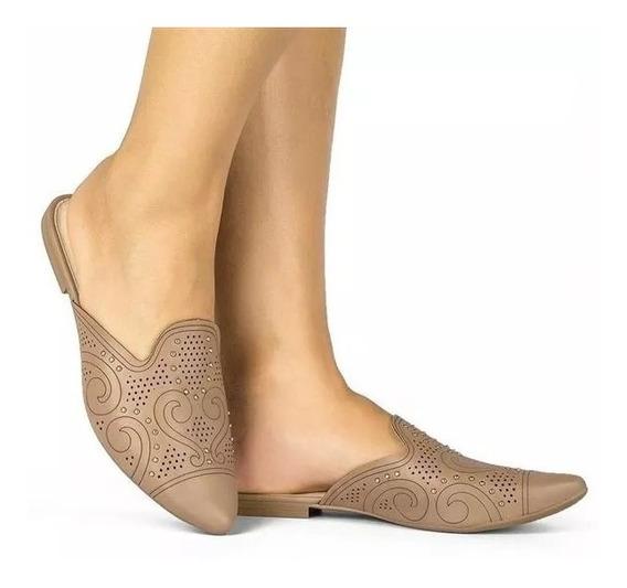 Sapato Mule Feminino Dakota G1052 Capuccino Bico Fino Tachas