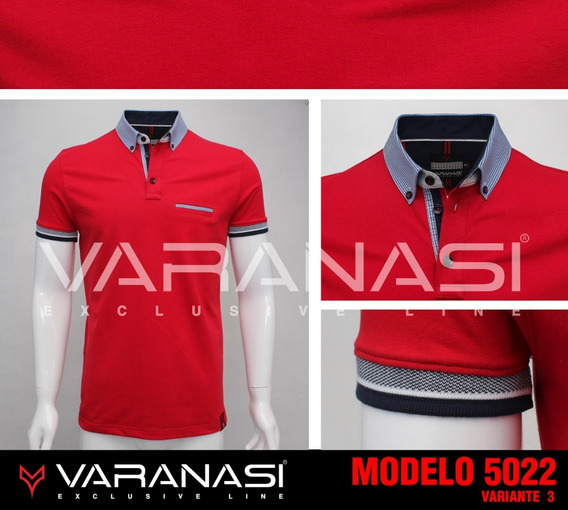 Playera Hombre Tipo Polo 5022 Slim Fit Moda Varanasi