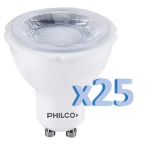 Pack X25 Dicroica Led Philco 5w = 40w 220v Gu10 Fria 6500k