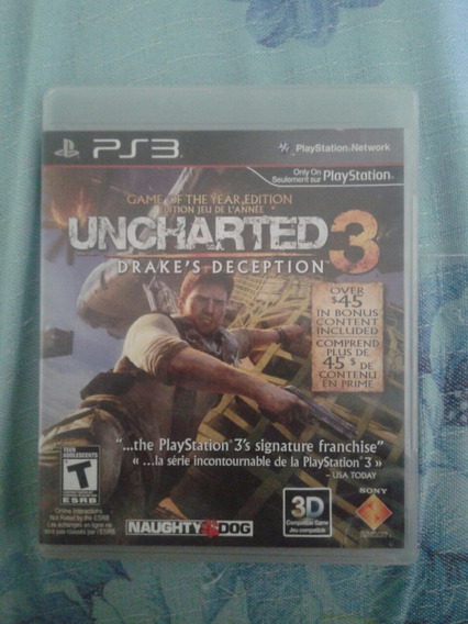 Jogo Uncharted 3 Drake´s Deception Ps3 Usado Midia Fisica