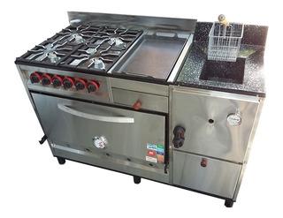 Cocina Industrial Multiple 4 Hornallas Horno Pizzero Plancha Hamburguesera Y Freidora