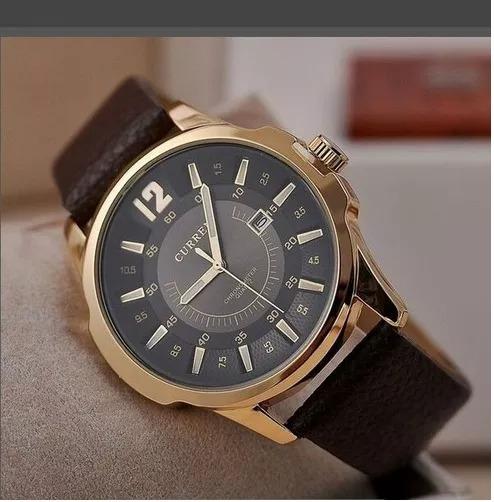 Relógio Masculino Original Curren Dourado Pulseira Couro