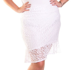Roupa Feminina Plus Size Saia Peplum De Renda Branca