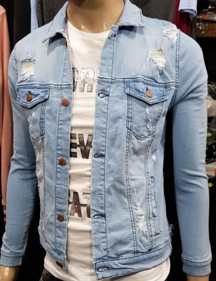 Campera De Jeans Elastizada Con Roturas