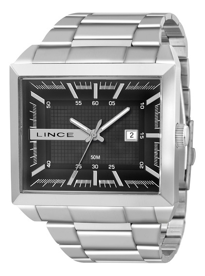 Relógio Masculino Lince Prata Quadrado Mqm4267lp1sx