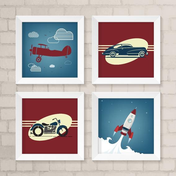 Kit 4 Quadros Avião, Foguete, Moto, Carro - Frete Grátis