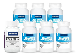 Kit 6 Colágeno 120 Caps+ 1 L-carnitina 120 Caps Newnutrition