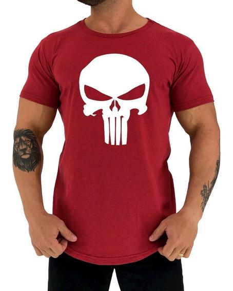 Camiseta Longline Punisher Justiceiro Academia Old Skull