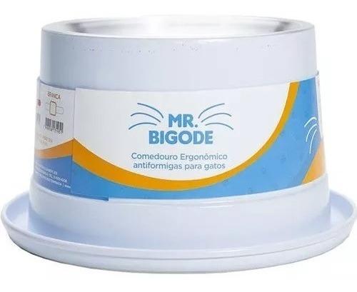Comedouro Alumínio Gatos Adultos Mr. Bigode Nf Pet Branco