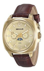 Relógio Seculus Masculino Multifunção Fase Luna 23528gpsvdc1