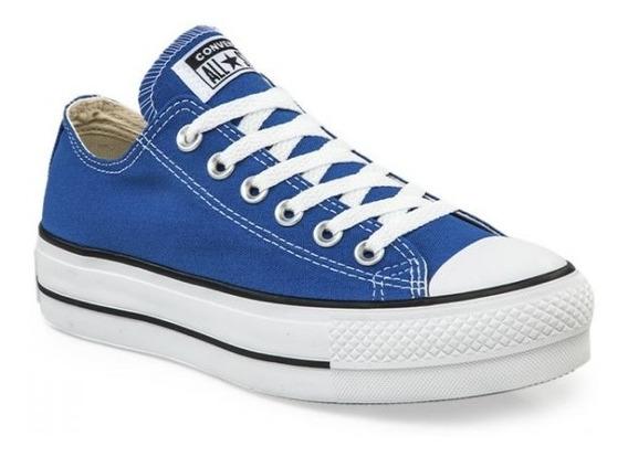 Zapatillas Converse All Star Plataforma Azul Blanco Mujer