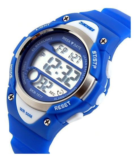 Relógio Infantil Skmei Masculino Mod. 1077 A Prova Água Azul