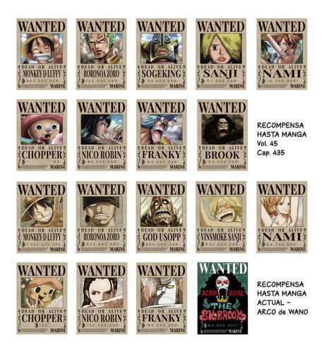 Imagen 1 de 5 de Imanes Wanted Mugiwara X 18 One Piece - Animeras