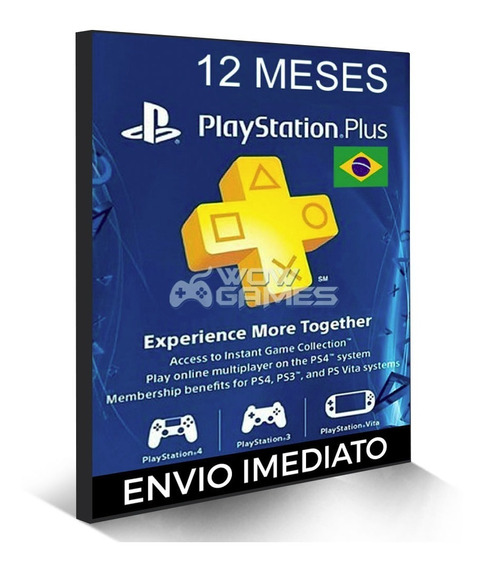 Cartão Psn Plus 1 Ano Brasil Playstation Br - 12 Meses