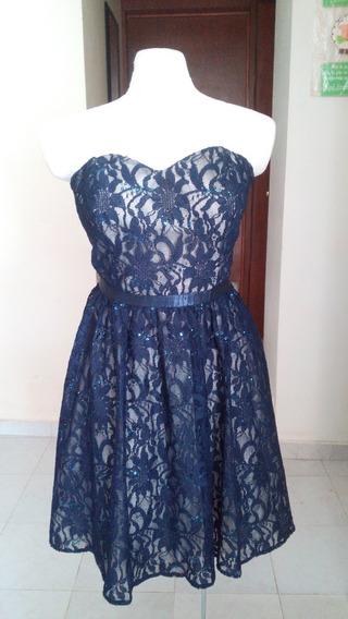 Vestido De Coctél Novenna Collection Talla 12 Azul Marino