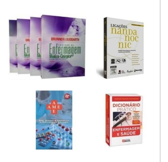 Kit 4 Livros De Enfermagem + Brinde Bolsa Universitária