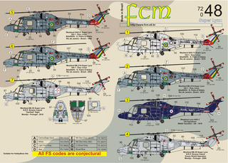 Decalque Helicoptero Super Lynx 1/72 Decal Fcm 72048