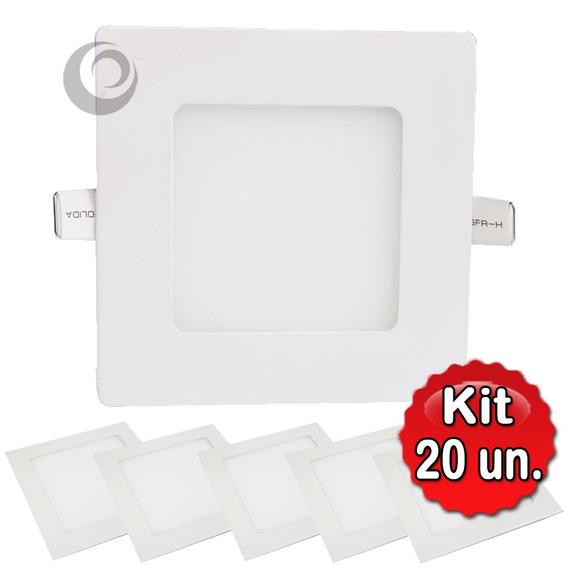 Kit 20 Painel Plafon Led 6w Embutir Quadrado Branco Frio