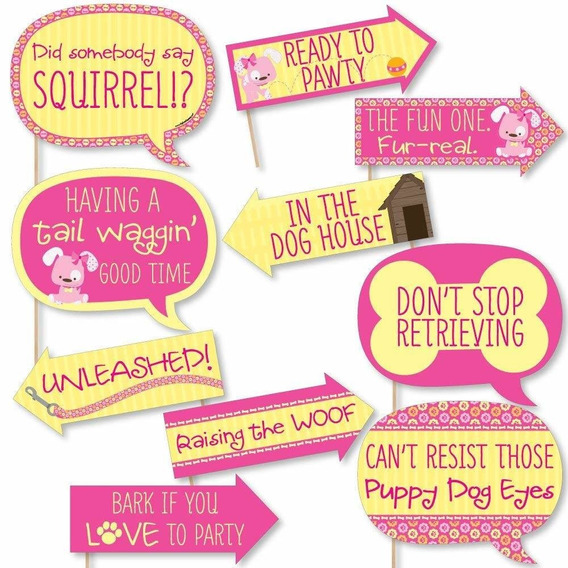 Funny Girl Puppy Dog - Baby Shower Or Birthday Party Photo B