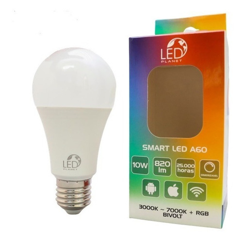 Smart Bulbo Led Wi-fi Inteligente 10w Rgb Branca/colorida