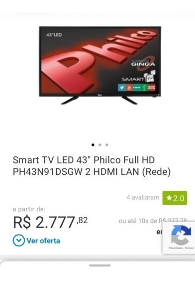 Vendo Tv Philco Smart Tv Led Full Hd Hdmi Lan 43polegadas