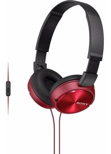 Fone De Ouvido C/ Microfone Mdr Zx310 Preto E Vermelho Sony