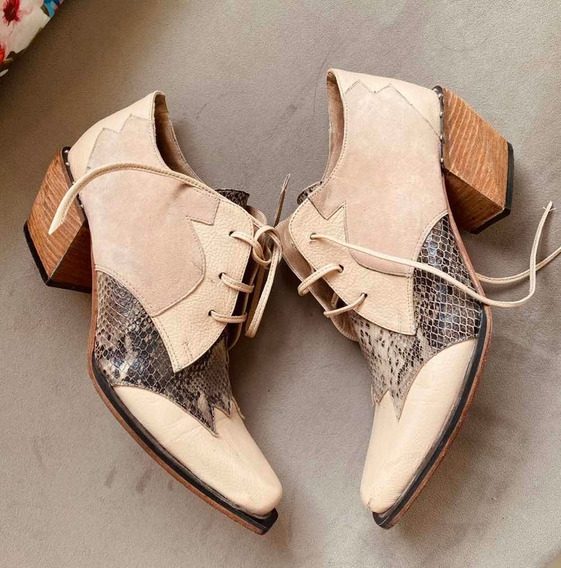 Zapato Botinera Bota Calzado Mujer Cuero
