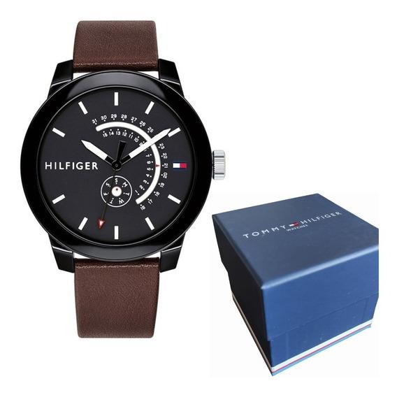 Relógio Tommy Hilfiger Preto Pulseira Couro 1791478 Original